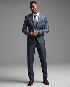 extra slim blue wool twill suit pant