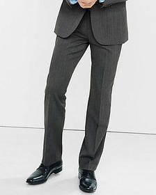 classic gray wool blend twill suit pant
