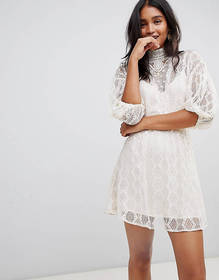 Free People Bittersweet high neck lace dress