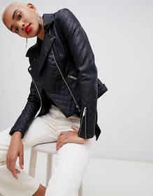 River Island quilted biker jacket in black