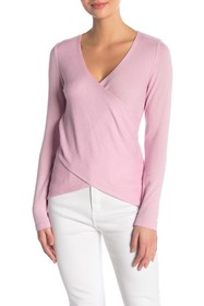 Seven7 Crossover Brushed Knit Top