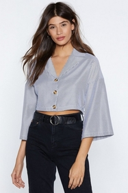 On the Stripe Track Cropped Shirt