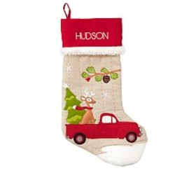 Truck with Reindeer Woodland Stocking
