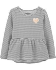 Toddler GirlStriped Peplum Top