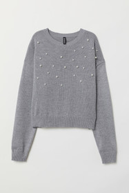 Bead-patterned Knit Sweater