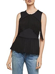 BCBGMAXAZRIA Sleeveless Fringe Top BLACK