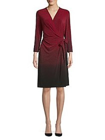 Anne Klein Printed Ombre Wrap Dress TITIAN RED