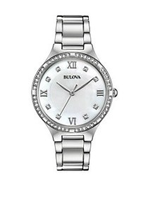 Bulova Stainless Steel and Swarovski Crystal Embel
