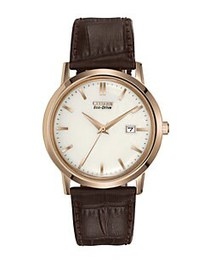 Citizen Eco-Drive Stainless Steel Leather Watch BR