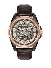 Bulova 98A165 Automatic Stainless Steel Leather Ba