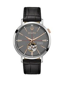 Bulova Automatic Stainless Steel Buckled Leather S