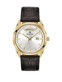 Bulova Classic Stainless Steel Buckled Leather Str