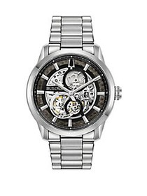 Bulova Sutton Automatic Skeleton Watch SILVER