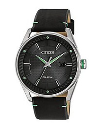 Citizen Drive Stainless Steel and Leather Strap Wa