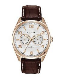 Citizen Mens Eco-Drive Rose Goldtone Watch with Br