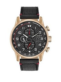 Citizen Primo Stainless Steel and Leather Strap Ch