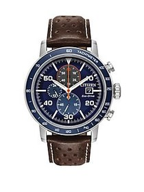 Citizen Brycen Stainless Steel and Leather-Strap W