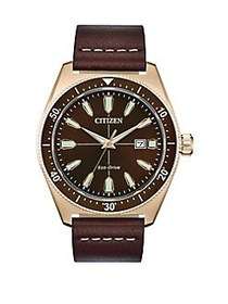 Citizen Brycen Stainless Steel & Leather-Strap Spo