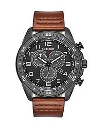 Citizen Drive Stainless Steel & Leather-Strap Chro
