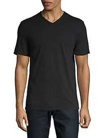Black Brown 1826 Cotton V-Neck Tee BLACK