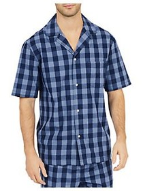 Nautica Buffalo Plaid Cotton Pajama Shirt BLUE