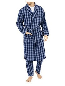 Nautica Buffalo Plaid Cotton Shawl Collar Robe BLU