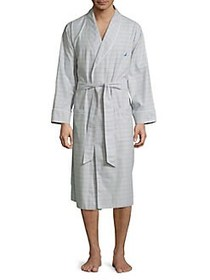 Nautica Windowpane Cotton Robe NEUTRAL GREY