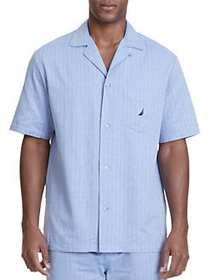 Nautica Herringbone Plaid Pajama Shirt BLUE BONE