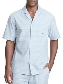 Nautica Check Printed Cotton Pajama Shirt NEUTRAL