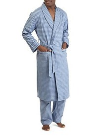 Nautica Plaid Cotton Robe LIGHT FRENCH BLUE