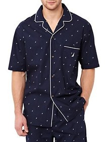 Nautica Logo Print Camp Sleep Shirt MARITIME NAVY