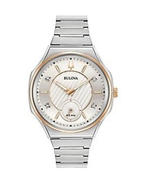 Bulova Curv Diamond and Stainless Steel Bracelet W