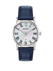 Bulova Classic Stainless Steel Leather Strap Watch