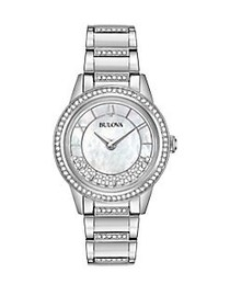 Bulova Crystals Turnstyle Stainless Steel and Crys