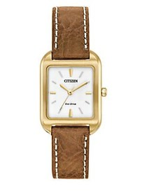 Citizen Eco-Drive Leather Band Analog Watch BROWN