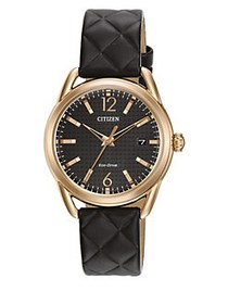 Citizen Drive Goldtone Stainless Steel and Quilted