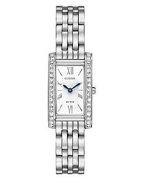 Citizen Eco-Drive Crystal-Pave Rectangular Analog