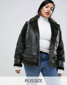 River Island Plus aviator jacket with faux fur tri