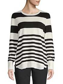 Calvin Klein Striped Crewneck Sweater BLACK WHITE