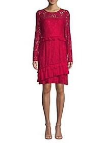 Taylor Ruffle Lace A-Line Dress SCARLET