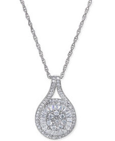 Diamond Baguette Cluster Pendant Necklace (1/2 ct.