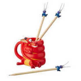 Mushu and Cri-Kee Pencil Holder and Pencils Set -
