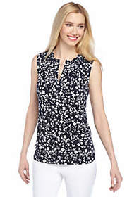 Printed Sleeveless Top with Chain Neck