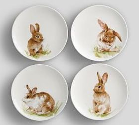 Pasture Bunny Salad Plate, Mixed Set of 4
