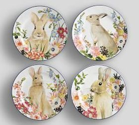 Floral Bunny Salad Plate, Mixed Set of 4