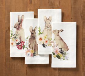 Floral Bunny Napkin, Mixed Set of 4