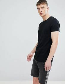 Esprit Longline Muscle Fit T-Shirt In Black With C