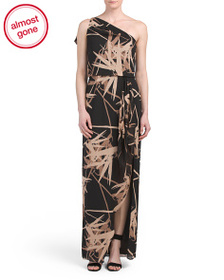 HALSTON HERITAGE One Shoulder Printed Gown With Dr