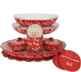 """""""As Is"""" Temp-tations Floral Lace 17-Piece Bakeware"""