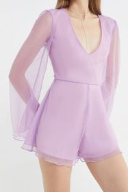 UO Sparkly Plunging Long Sleeve Romper